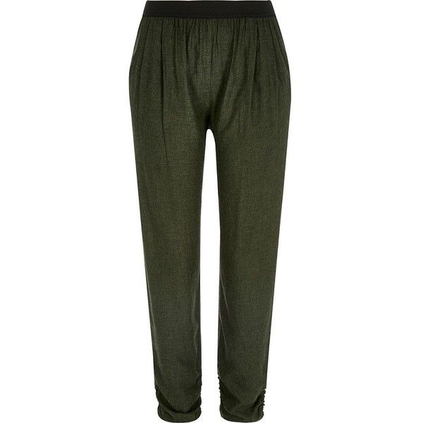 River Island Khaki green woven jogger trousers (£36) ❤ liked on Polyvore featuring pants