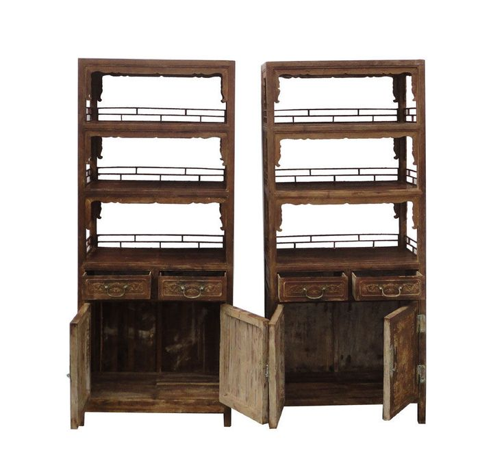 Pair Chinese Antique Bamboo Bookcase Flower Vase Carving Display Cabinet WK2167a