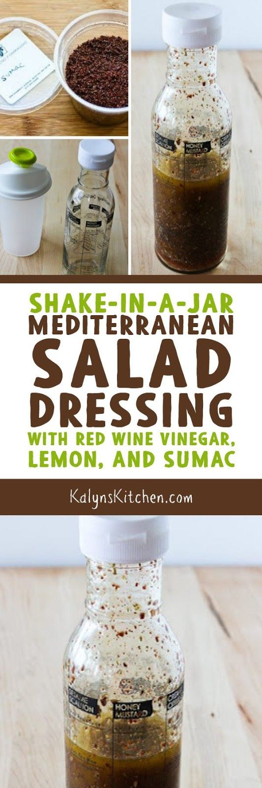 I love the lemon + Sumac dressing used on the middle eastern salad called Fattoush, and this easy-to-make Mediterranean Salad Dresing with Sumac captures all those flavors. Once you try this, you will make it OVER AND OVER, I promise. [found on KalynsKitchen.com] #MediterraneanDressing #SumacDressing #MediterraneanSumacDressing