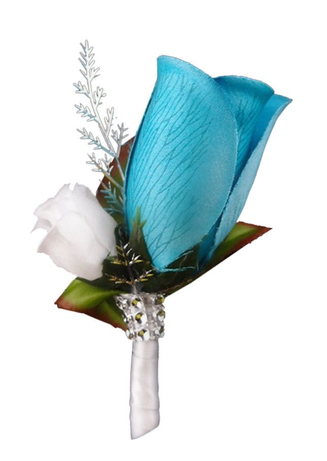 Boutonniere Deep Blue Turquoise Rose Bud With White Mini Wedding FlowersTurquoise