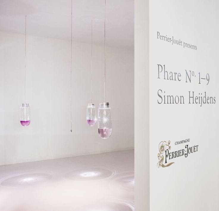 Phare No. 1-9 for Perrier-Jouët are nine hand-blown glass vessels that draw a story using an entirely new, self-developed technology that makes drawings appear mid-water. #perrierjouet #designmiami #simonheijdens Please Drink Responsibly