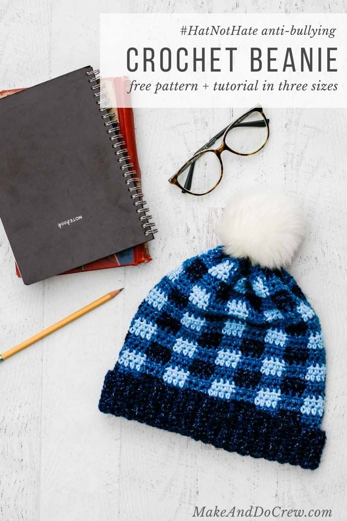 Support the  HatNotHat anti-bullying campaign with this free crochet plaid  hat pattern in child 567a98c22d7