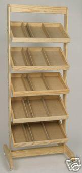 Wooden Retail Display Bakers Crate Rack w/ Wheels New