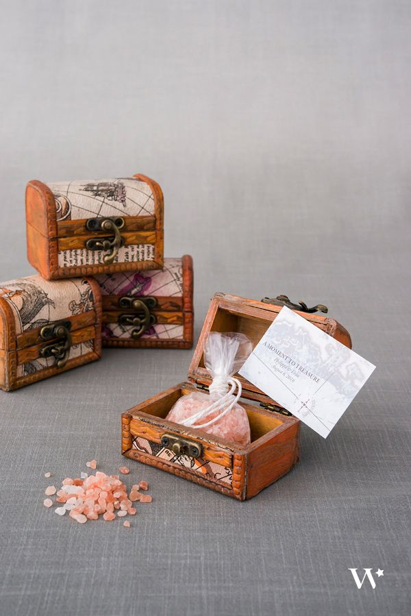 The mini treasure chest has been created in a rustic design from real wood and…