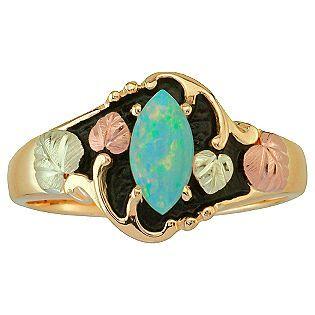 Black Hills Gold- -Tricolor 10K Gold Ladies' Antiqued Opal Ring