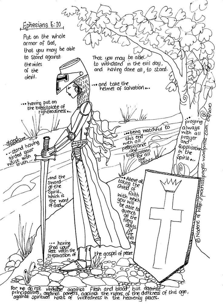 armor of god coloring pages lds | Full Armor of God (girls coloring page) | quotes | Pinterest