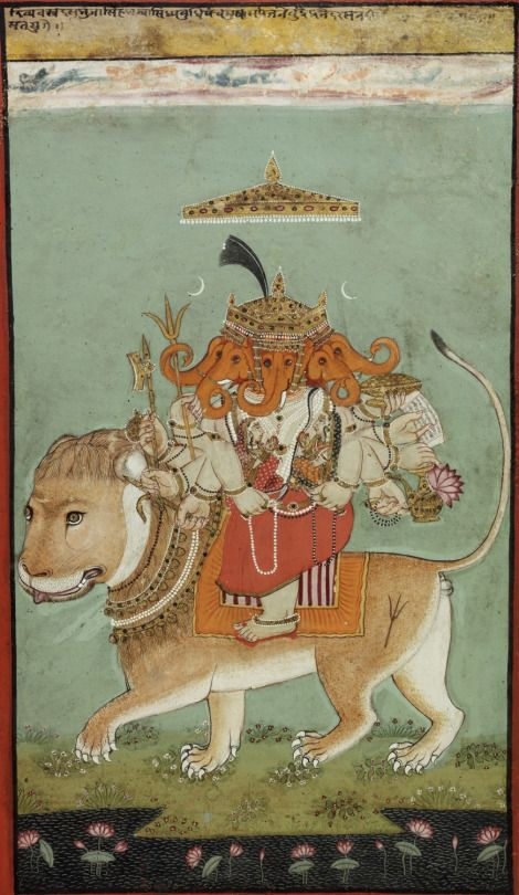 Heramba Ganapati - An Esoteric Form of Ganesha Early 18th century, India, Rajasthan, Mewar school Opaque watercolors and gold on paper