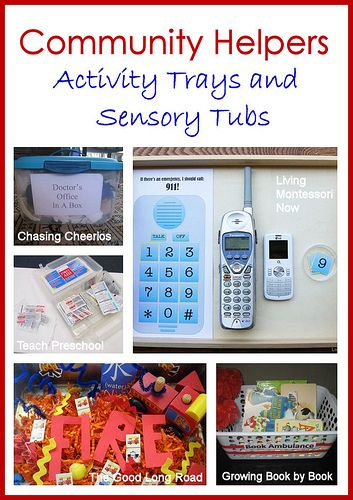 Community Helpers Activity Trays and Sensory Tubs (includes 9/11 resources)