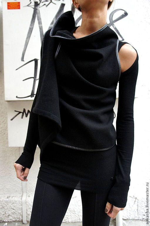 Купить Кашемировый жилет Fantasy - черный, черный жилет, жилет, жилетка, кардиган, накидка