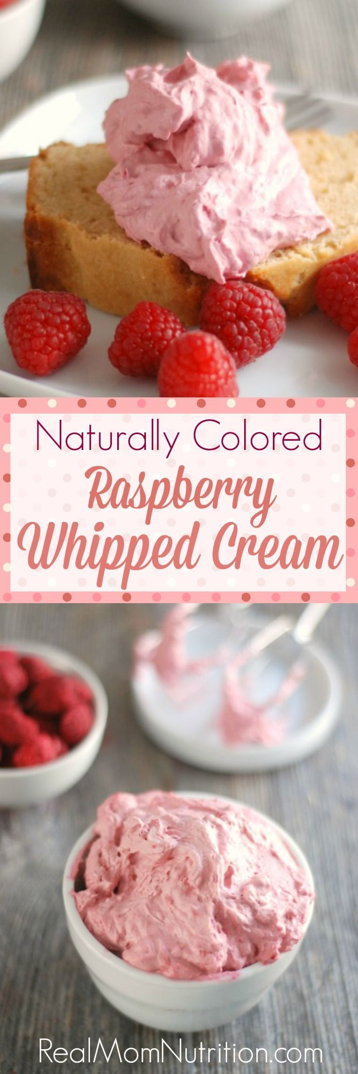 Skip the fake food dyes! Naturally Colored Raspberry Whipped Cream