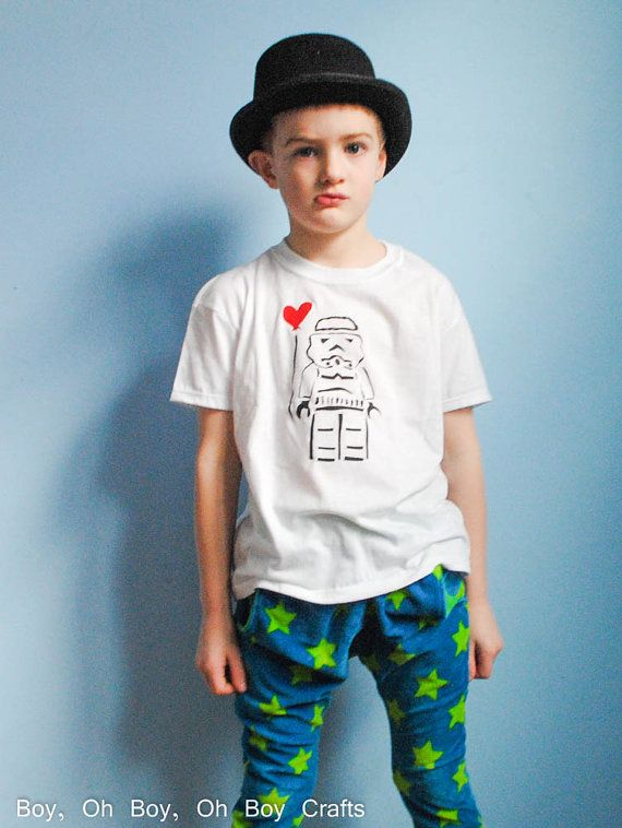 Stenciled Storm Trooper T-shirt $15/99 by BeatnikKids on Etsy
