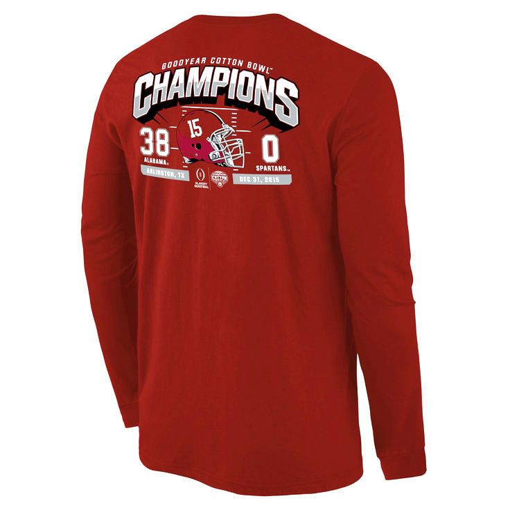 Alabama Crimson Tide College Football Playoff 2015 Cotton Bowl Champions Touchdown Score Long Sleeve T-Shirt - Crimson - $23.74