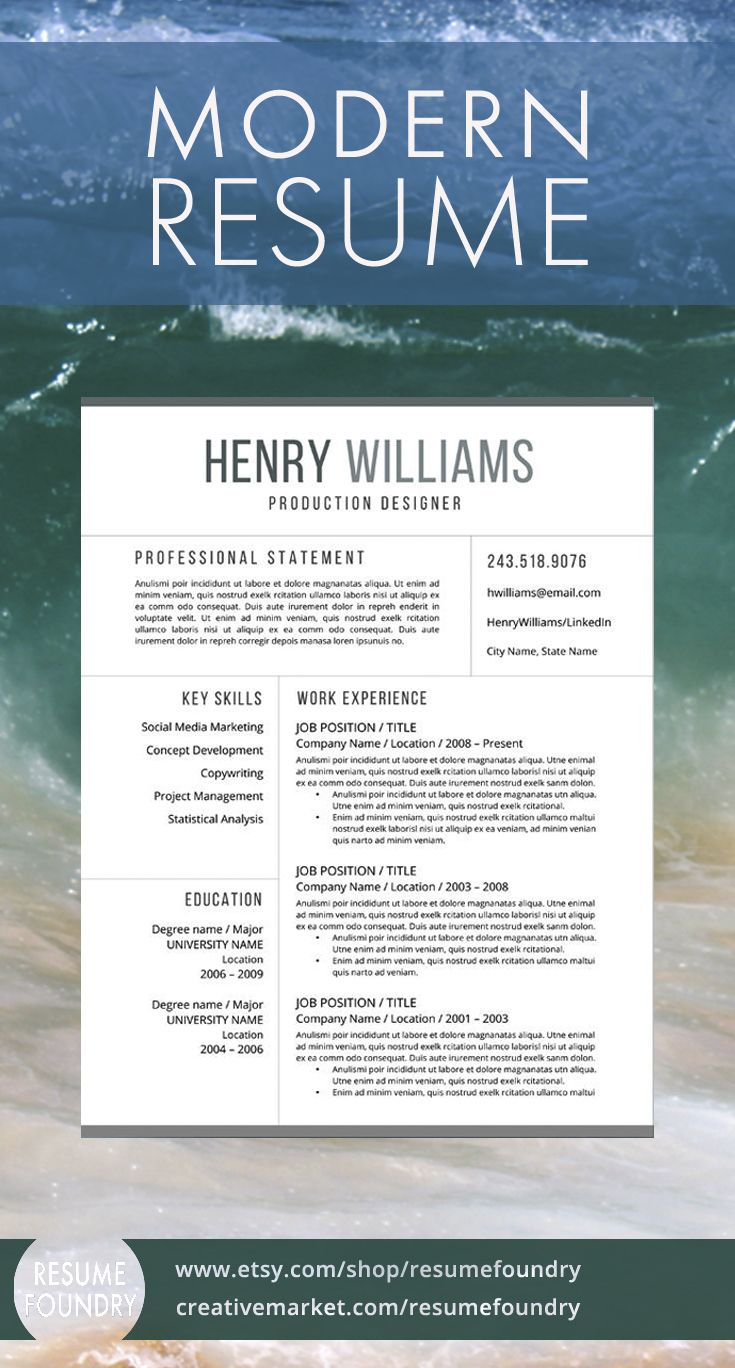 Modern Resume Template, Instant Download. Resume Foundry - Your on your way.