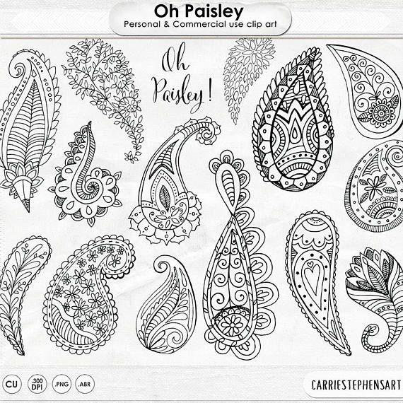 Boho ClipArt, Paisley Doodle Line Art, Digital Stamps ClipArt, Decorative Graphic Design, ClipArt Download, PNG Silhouette & Indian Ornament – Nane Bar