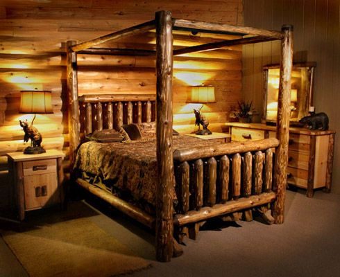 Best 20 log bed ideas on pinterest log bed frame timber bed frames and king size frame - Log bedroom furniture ...