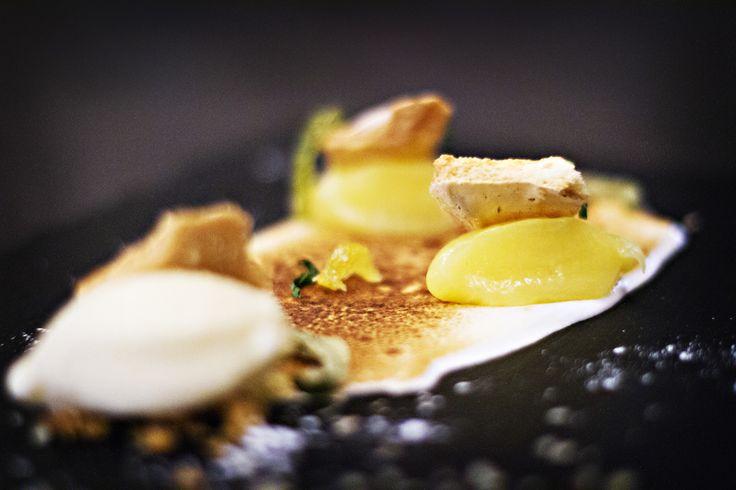 Italian Meringue, lemon cured meringue shards, tuille crumb, crystalized lemon, and coconut ice