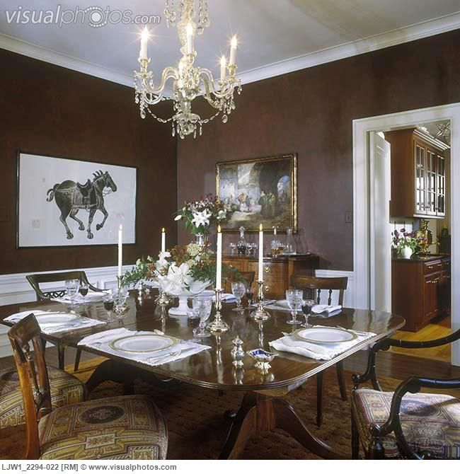 Black and white painted rooms dining room formal for Dark brown dining room