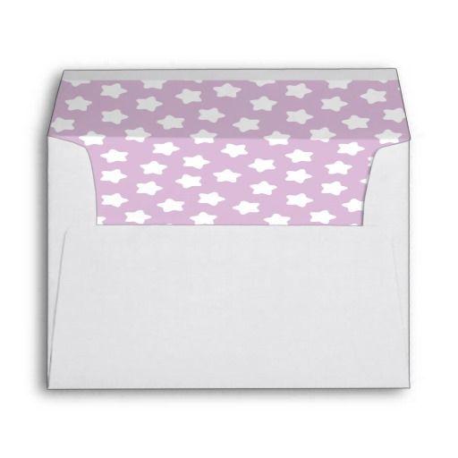 Cute Light Purple Pastel Star Lined White A7 Envelope