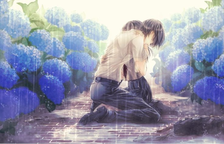anime boy and anime girl hugging in rain | Pretty anime ...