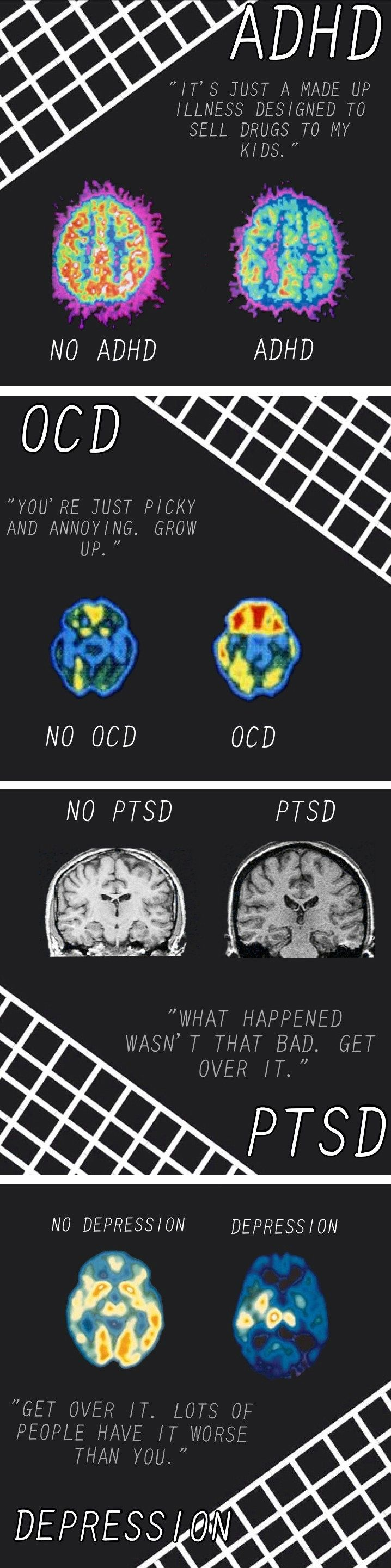 "This is a picture for anyone who thinks depression is a choice. It's a real thing that a lot of people can't control. Don't tell me to ""Get over it"". I can't. Don't call me names or bully me because of the way I am. If you are reading this and you have a mental disorder know that you are beautiful and don't let anyone tell you otherwise."
