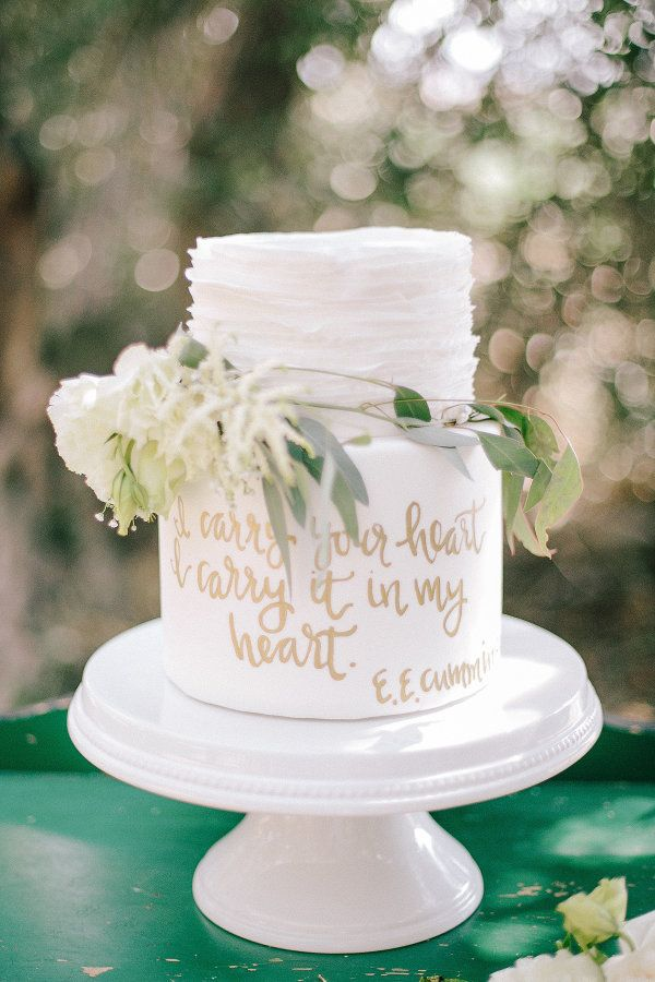 """I carry your heart, I carry it in my heart"" http://www.stylemepretty.com/california-weddings/cherry-valley-california/2015/09/02/whimsical-olive-grove-wedding-styled-shoot/ 