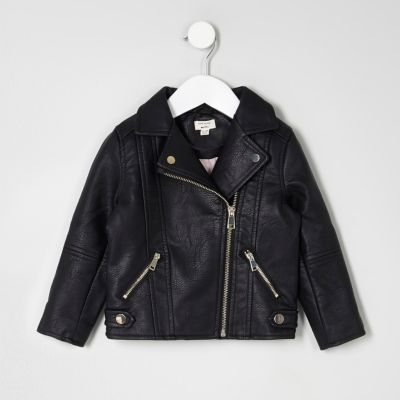 Mini girls black faux leather biker jacket - Baby Girls Coats & Jackets - Mini Girls - girls
