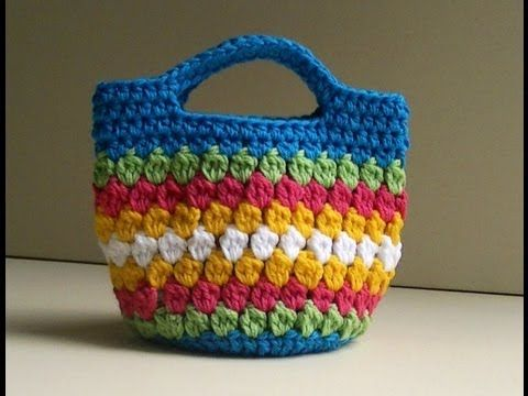 Cluster Stitch Bag Crochet Tutorial - Idea's for hat - YouTube
