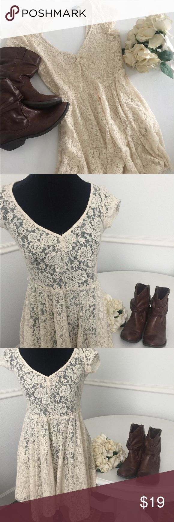 American Eagle lace cutout dress! Size Medium American Eagle Outfitters lace cutout out dress. Size Medium. Completely mesh and see through! Pair with a bralette or slip! Great for layering for that country chic look! American Eagle Outfitters Dresses Midi