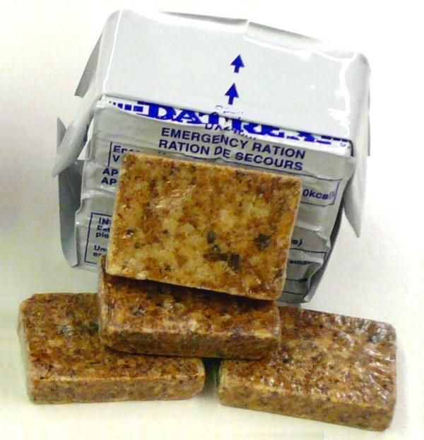 Calorie-dense, complete nutrition food bars. Various combinations of legumes and grains, with vegetable oil added to increase caloric density. Powdered multivitamins and mineral supplements are also added.