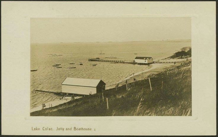 Lake Colac, jetty and boathouse, c. 1910s. State Library of Victoria Image H82.254/9/18.