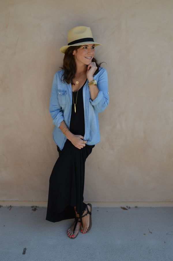 Summer Travel: 3 Dresses for 3 Cities! Here's my outfit for Rome... perfect for visiting Vatican. Maxi dress by Vince, chambray shirt by JCrew.