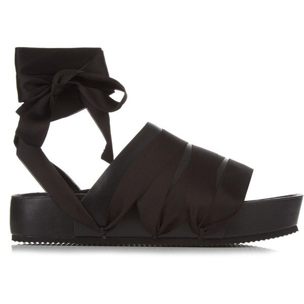 Ellery Flamingo ribbon and leather slides ($374) ❤ liked on Polyvore featuring shoes, sandals, black, ribbon sandals, black leather shoes, black sandals, black flatform sandals and wide sandals