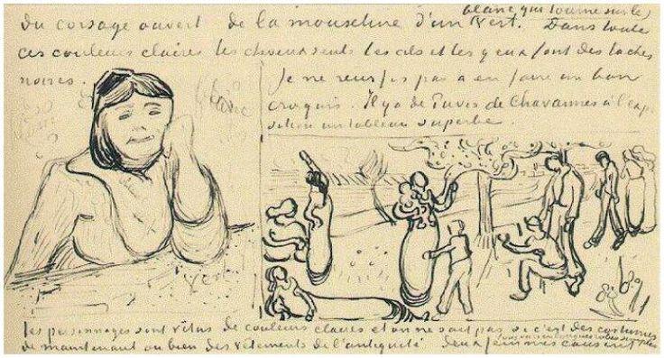 L'Arlesienne (Madame Ginoux) Vincent van Gogh   Letter Sketches,   Saint-Rémy: 5-Jun, 1890 Van Gogh Museum  Amsterdam, The Netherlands, Europe  F: ;W22, ;JH: ;1896