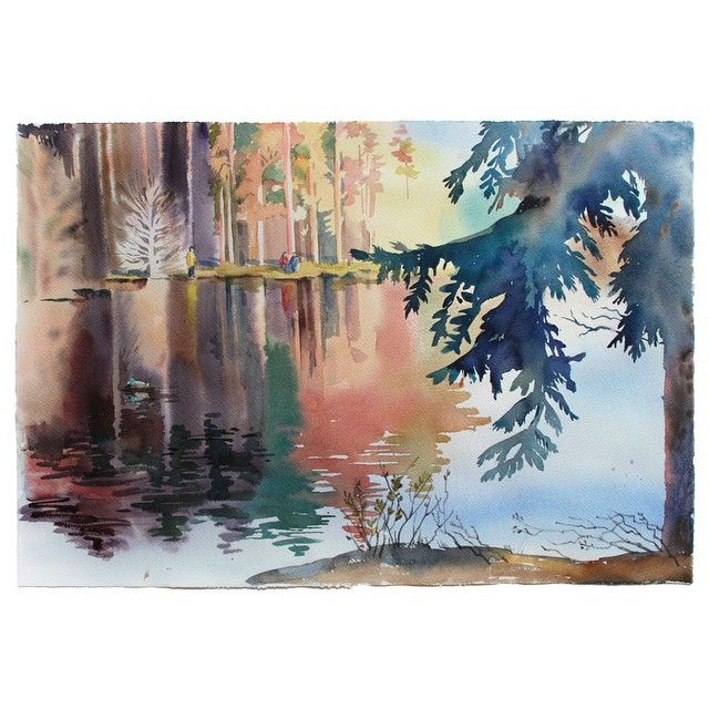 #watercolor, #акварель #иллюстрация, #painting, #illustration, #landscape, # Комарово
