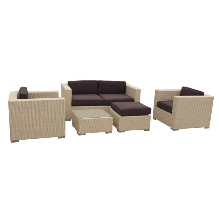 Tan Synthetic Rattan W/Brown Cushion Malibu 5Pc Outdoor Sofa Set