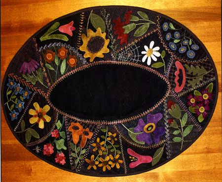 Primitive Gatherings Flower Garden Wool Table Mat. I think this i just beautiful!