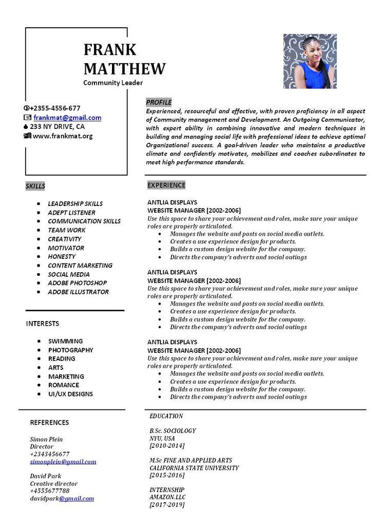 Professional Resume Instant Download CV WORD Cover letter