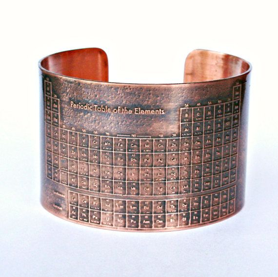 ★★★ COPPER CUFF BRACELET - Periodic Table of Elements - Etched Solid 18 gauge Copper Cuff Bracelet - Handmade - Can Be Personalized with Your Own