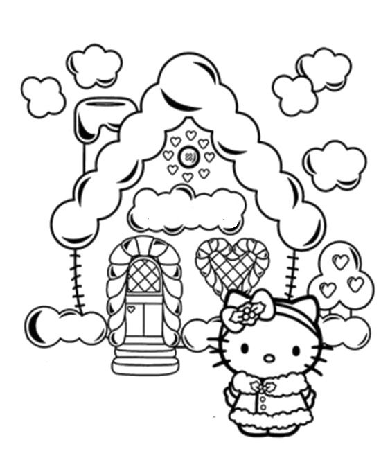 Hello Kitty Christmas And Christmas House Coloring Pages