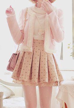 pink fluffy blazer, light brown heart skirt, pink shoulder bag