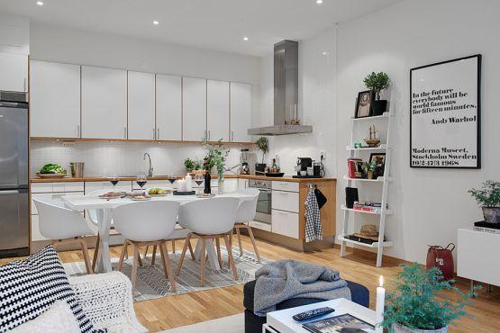 2 piccoli spazi estilonordico Scandinavia stile scandinavo decorazione d'interni decorazione 2 2 sale da pranzo 2 piccole cucine Arredamento cucina interni bianchi moderni cucine bianche