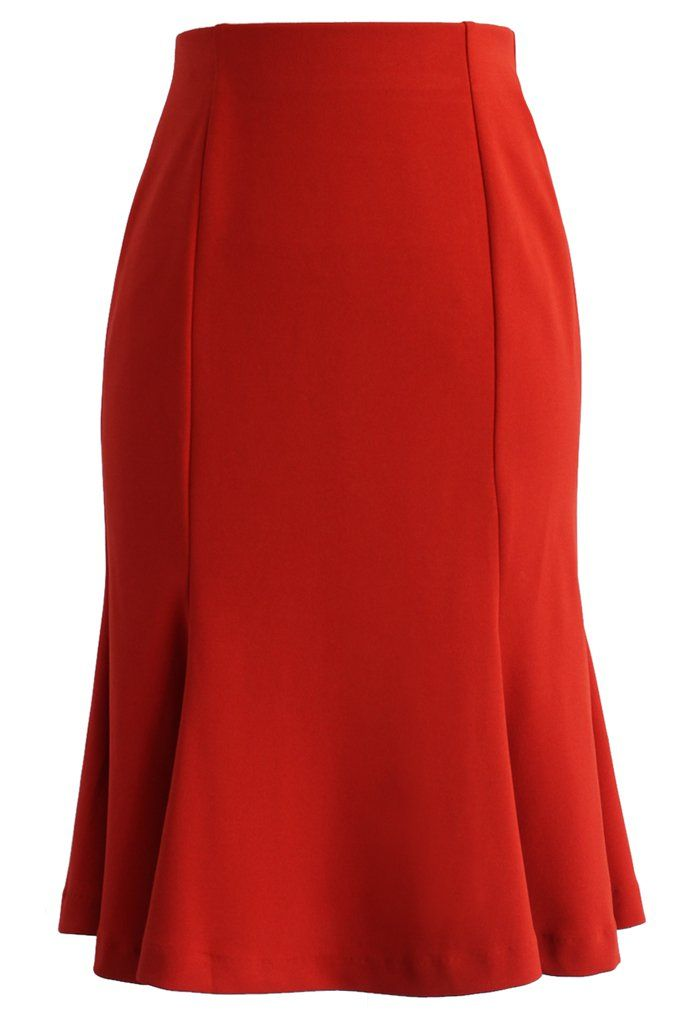 Frill Hem Paneled Pencil Skirt in Orange - Skirt - Bottoms - Retro, Indie and Unique Fashion