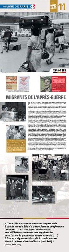 N°11 : Migrants de l'après-guerre. Entre 1945 et 1975, durant les Trente Glorieuses, un flux régulier de travailleurs migrants arrive dans la capitale, facilité par la création de la Communauté économique européenne en 1957, et la mise en place d'accords entre la France et ses voisins. © Groupe de recherche Achac