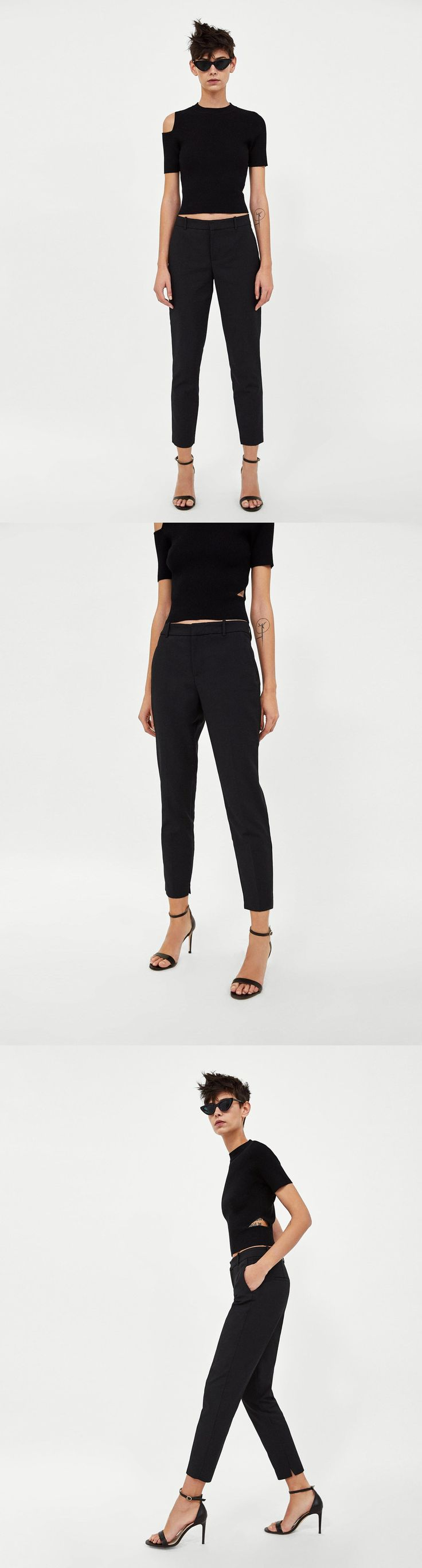 Straight Cut Trousers // 49.90 USD // Zara // Trousers with side pockets and piped back pockets. HEIGHT OF MODEL: 178 cm. / 5′ 10″