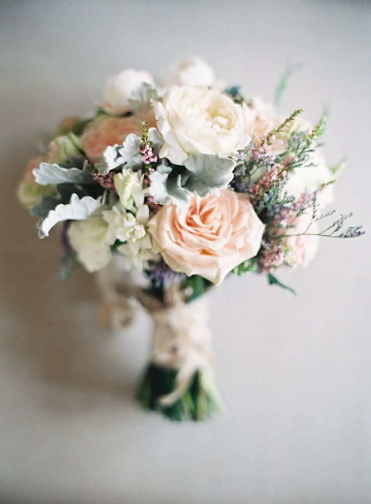 Elegant and Delicate Wedding Bouquet -- See more of the wedding here: http://www.StyleMePretty.com/2014/05/14/vintage-wedding-that-fully-embrace-the-pastel-color-trend/ Photography: ByronLovesFawn.com - Floral Design: GreenAndBloom.com ivory cream peach blush flowers mint