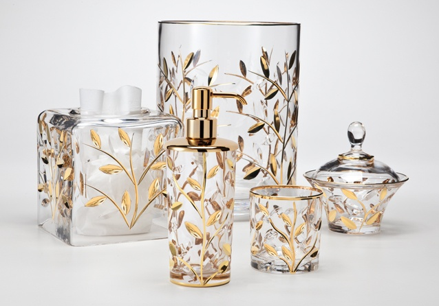 Crystal vine gold labrazel luxury bath accessories for Gold toilet accessories