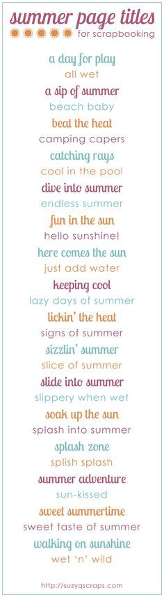 summer scrapbook idea | summer scrapbook page titles | Look around!