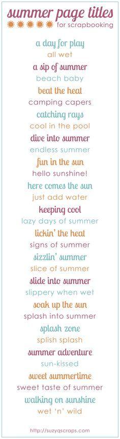 summer scrapbook idea | summer scrapbook page titles | Look around!