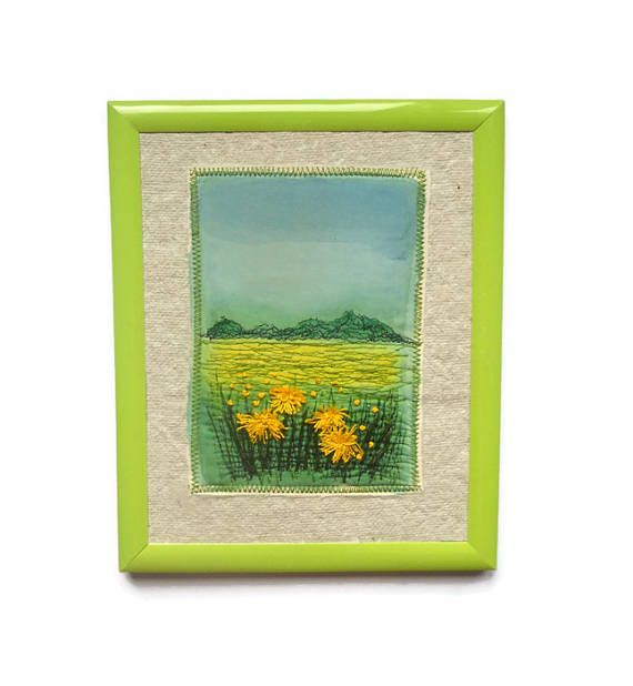 Textile Art Embroidery painting Wall hanging Framed picture