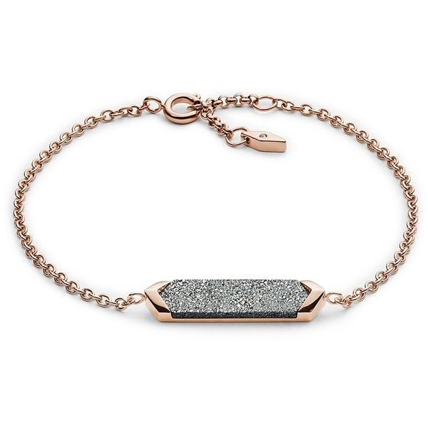 Fossil Shimmer Stone Plaque Bracelet ($38) ❤ liked on Polyvore featuring jewelry, bracelets, stone jewelry, imitation jewellery, stone bangles, fossil jewelry and glitter jewelry